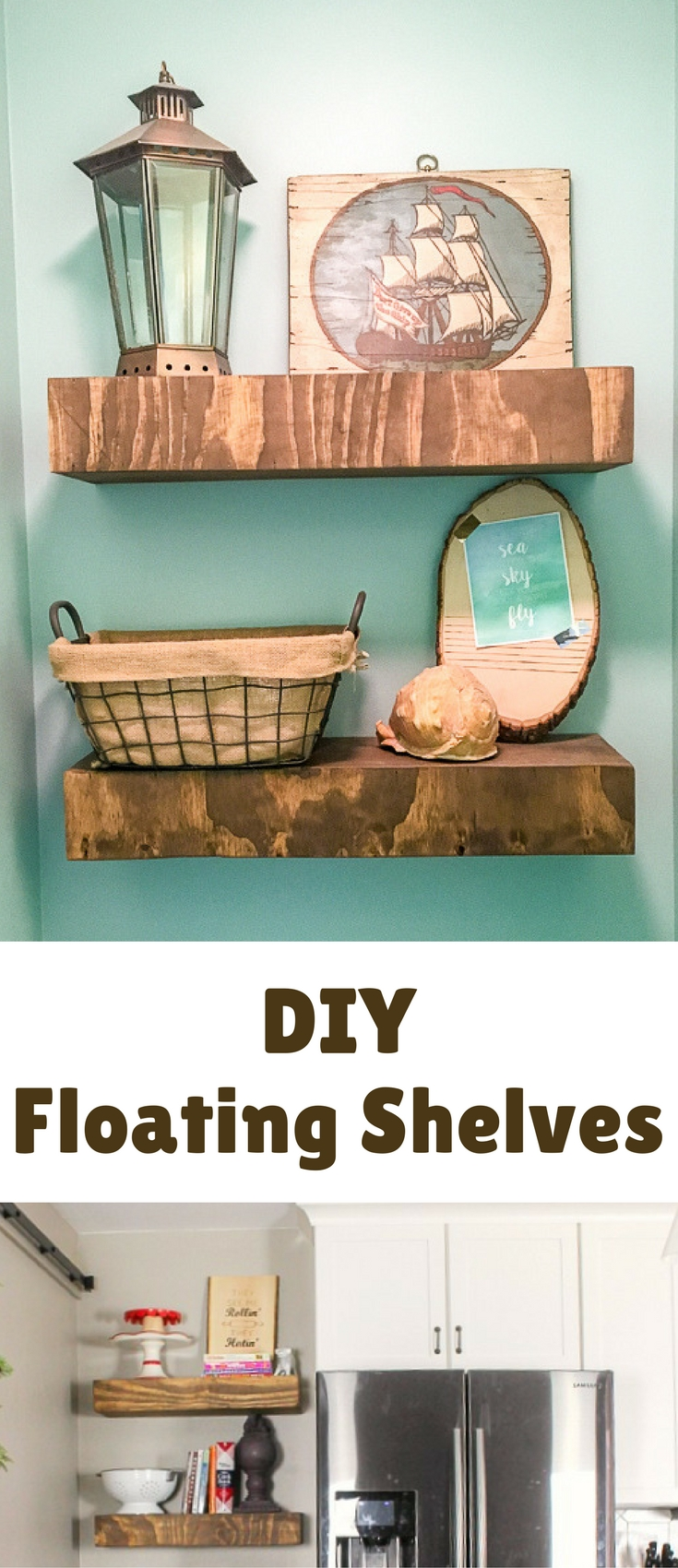 The first project I wanted to share is probably also one of the easiest for you to replicate- How to Build Floating Shelves. We actually first built these for our powder room (that was part of our mudroom renovation) and liked them so much that we decided to add them to our kitchen as well!