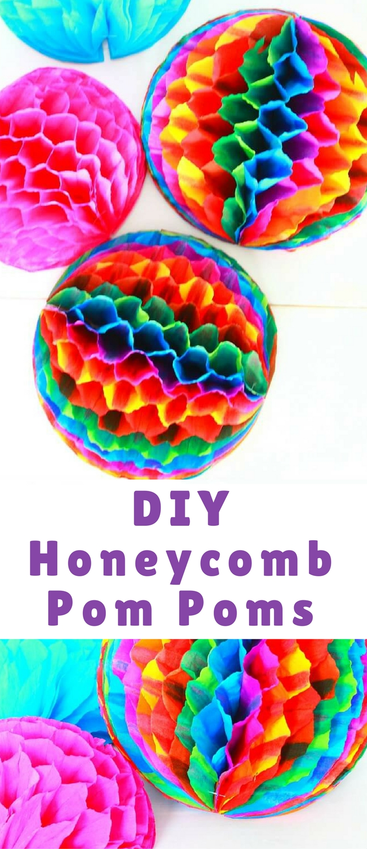 Throwing a party soon? Use some of these adorable DIY honeycomb pom poms made with crepe paper for a fun decor, perfect for any party!