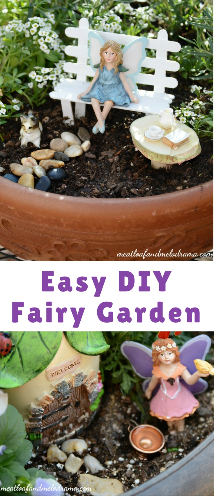 This easy DIY fairy garden is so simple to make and doesn't take up a lot of space. It's a fun project for both adults and kids and an enchanting way to spruce up your deck or patio!