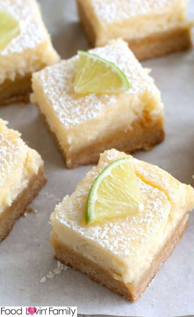 MARGARITA BARS ARE A DELICIOUS TAKE ON OOEY GOOEY BUTTER CAKE BARS. DELICIOUSLY CREAMY WITH A HINT OF REFRESHING LIME.
