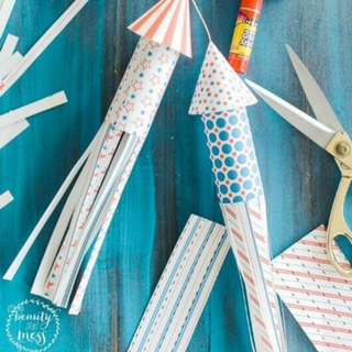 Patriotic Toilet Paper Roll Firework Rockets for the 4th of July