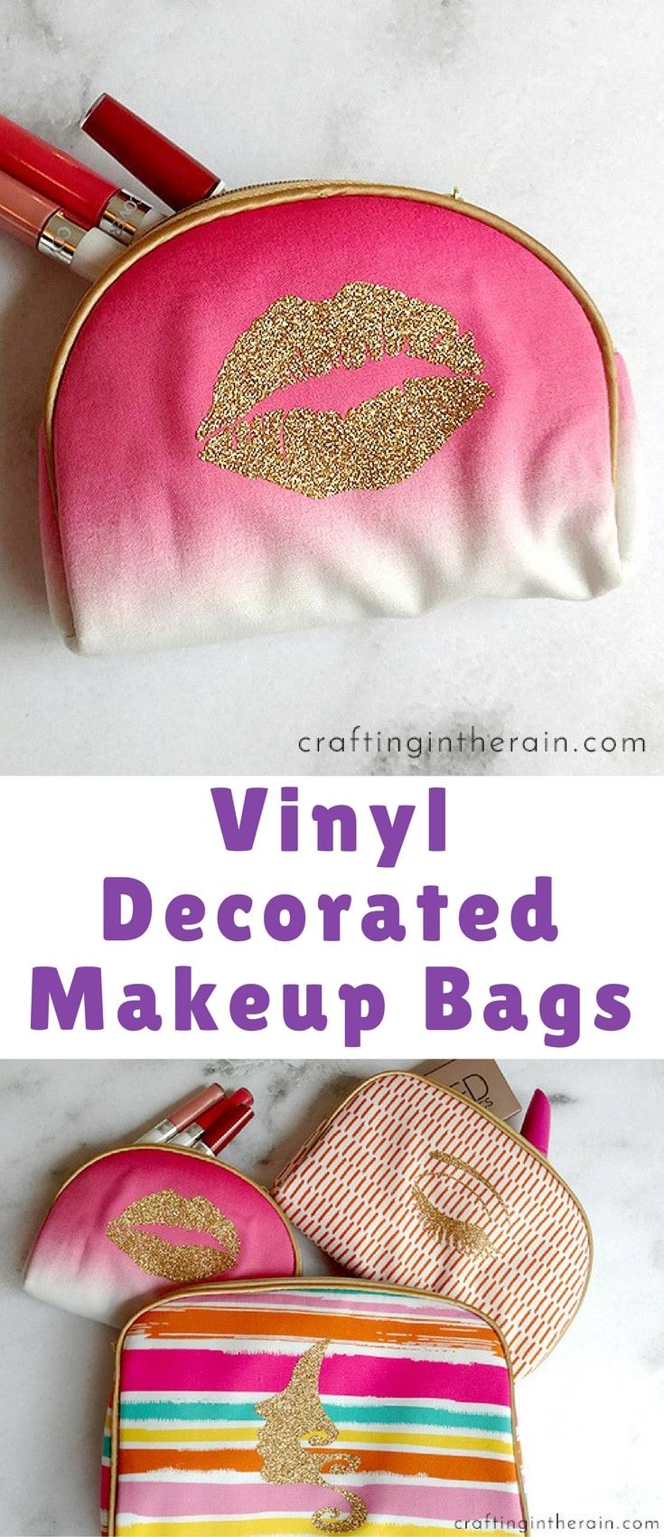 A lot of you guys are probably like me, and never leave well enough alone when it comes to decorating with vinyl. Did these bags NEED glitter vinyl added to them? I'll let you be the judge!