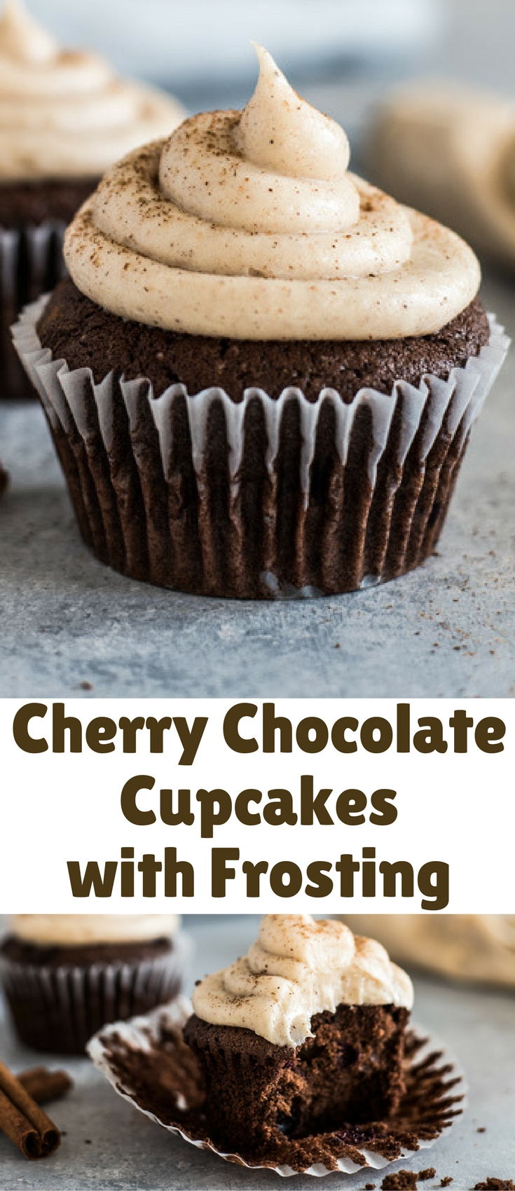 This Cherry Chocolate Cupcakes recipe with Cinnamon Cream Cheese Frosting is decadent, fluffy and perfectly moist. Treat yourself!
