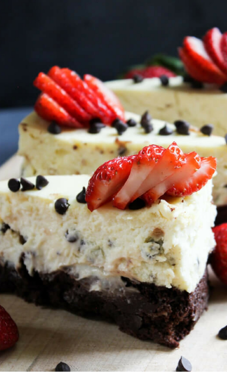 Chocolate Chip Brownie Cheesecake – A rich brownie crust with a silky, cream cheese filling speckled with chocolate chips and topped with berries. A truly decadent and delicious cheesecake!