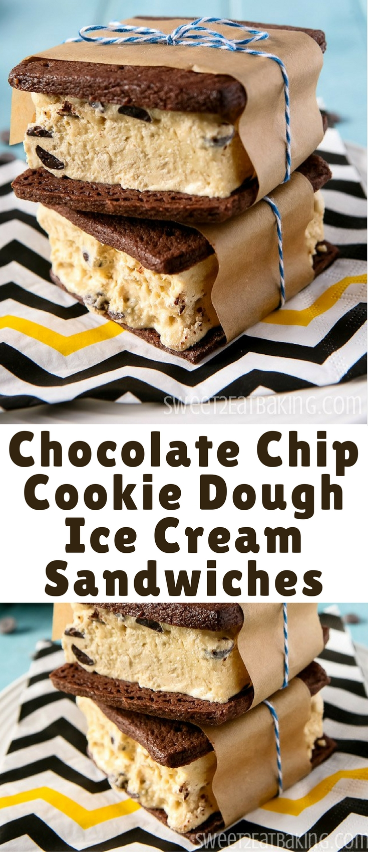 Beat the heat with this Chocolate Chip Cookie Dough Ice Cream Sandwiches recipe. Soft chewy chocolate cookies filled with a generous serving of delicious cookie dough ice cream.