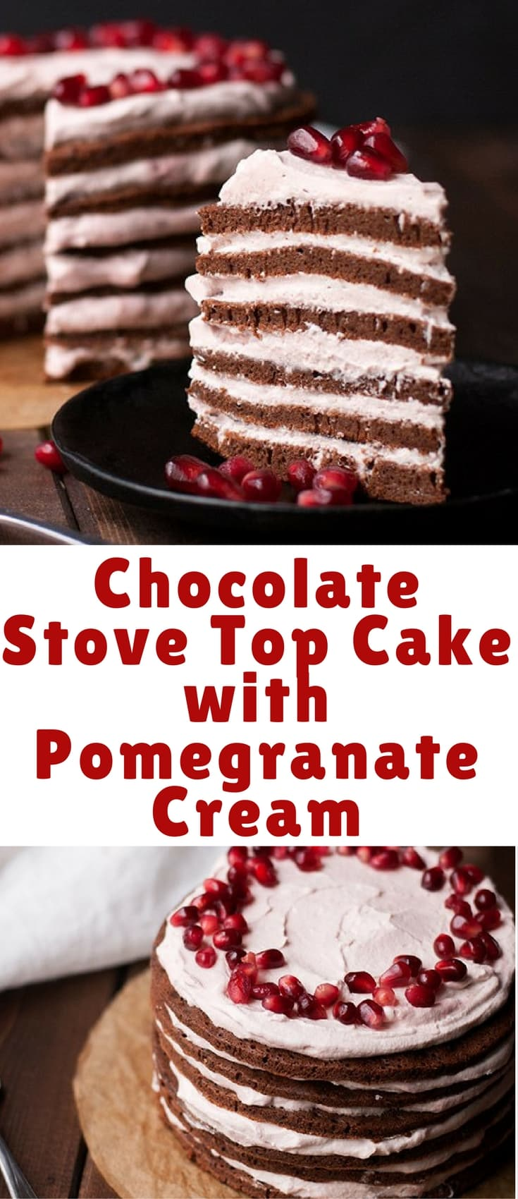 This stovetop cake with pomegranate cream is easy to make and you don't need an oven! Chocolate and pomegranate come together to make a rich but fresh dessert.