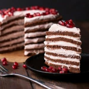 Chocolate Stovetop Cake with Pomegranate Cream