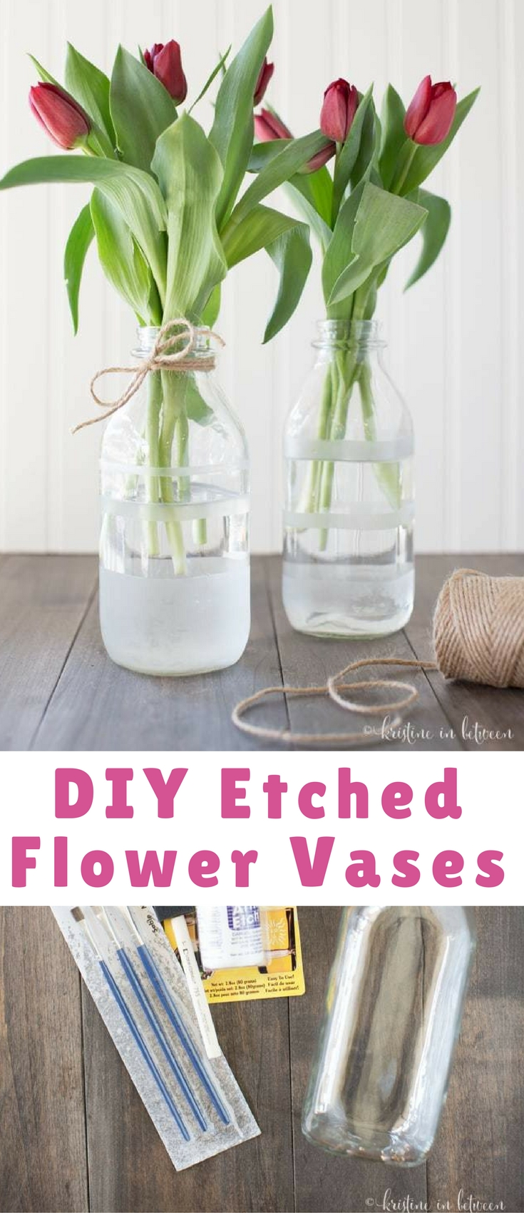 These pretty little farmhouse DIY etched flower vases will look perfect on your kitchen counter this spring!