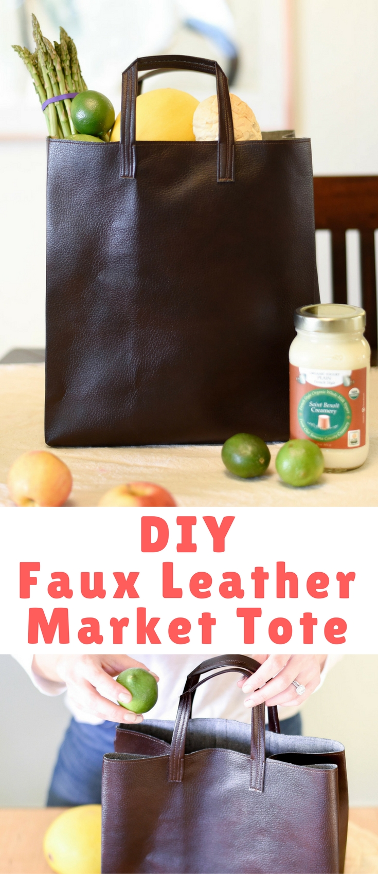 It folds up like a paper bag, and looks like a paper bag, only it's made of faux leather.