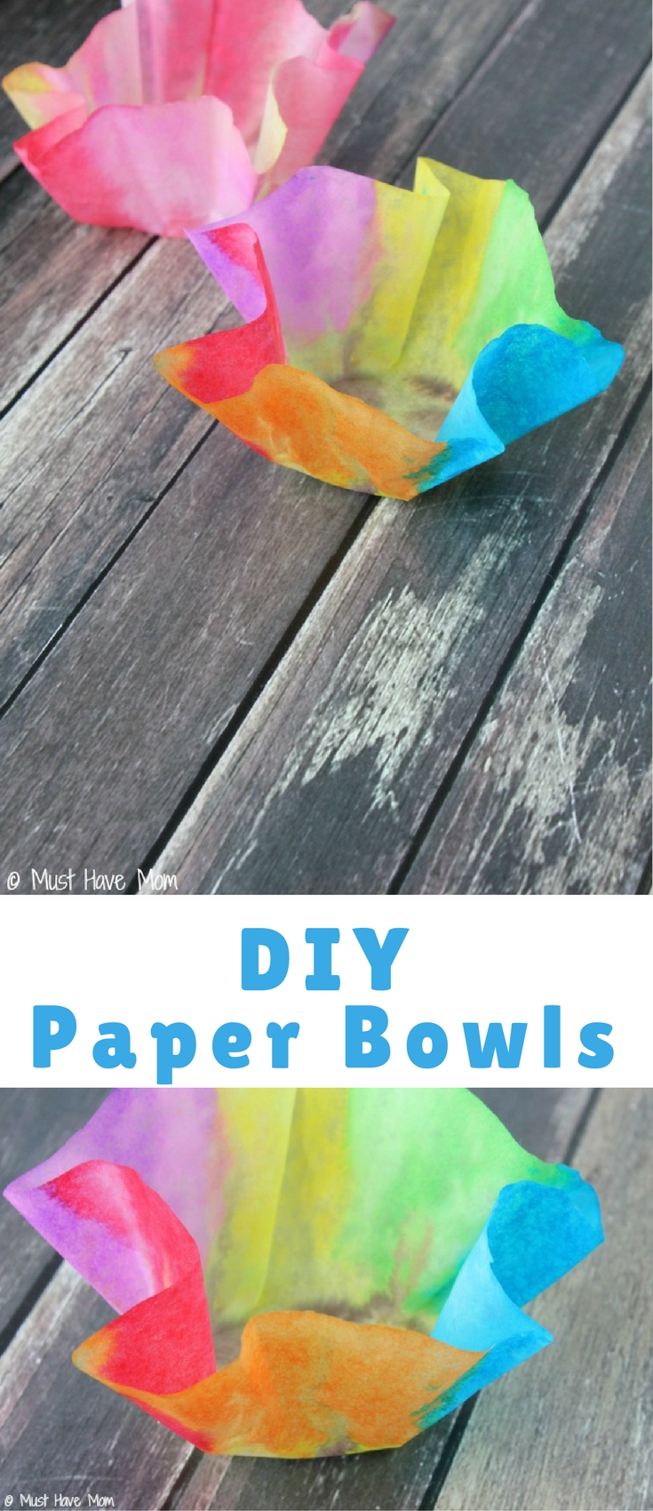These easy 3 step DIY paper bowls are so easy and so cool! Kids as young as two can make these (with a little adult help) and then you can display them as art! They are fun and artistic and the perfect kids craft idea for a rainy day.