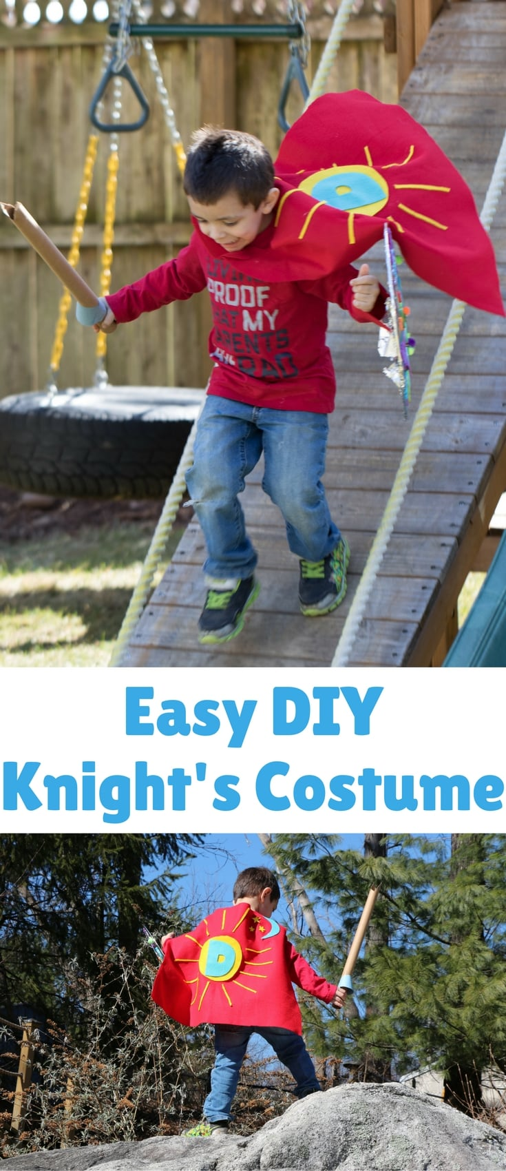 Since dress up is a favorite game here we decided to make our very own knight's costumes. They were really simple to make (if you do crafts now and then you probably have everything you need at home!) and a whole lot of fun.