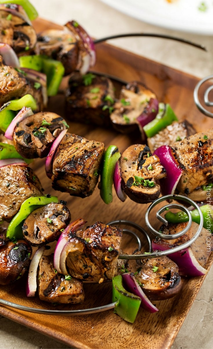 Tender pieces of steak are bathed in a flavorful marinade, skewered with onions, peppers and mushrooms, then grilled to juicy steakhouse perfection!