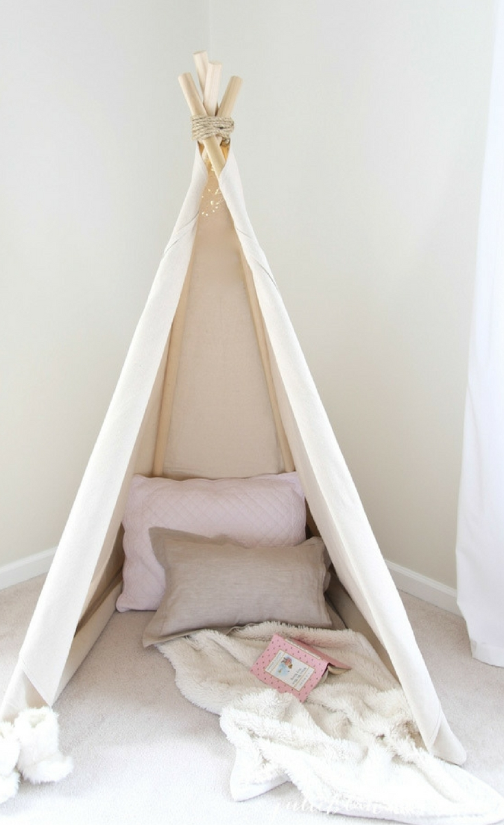 Today I'm sharing how to make a teepee! This simple do-it-yourself project is a true no sew teepee you can create in less than an hour for $60.