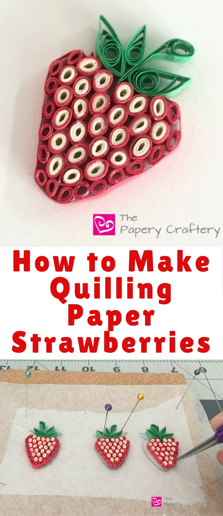My kids love berries, and since they're always on my grocery list and in my fridge right now, I was inspired to make a tutorial on how to make quilling paper strawberries!