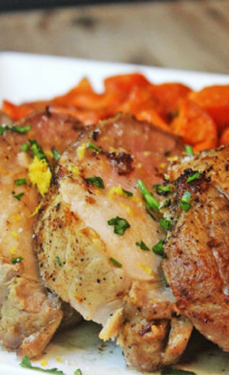 A dish from rock star Chef Michael Chiarello, this marinade is shockingly easy, and has a bright fresh flavor you will want to use any meat you cook! Serve it up with my Honey Roasted Apples for an amazing meal.