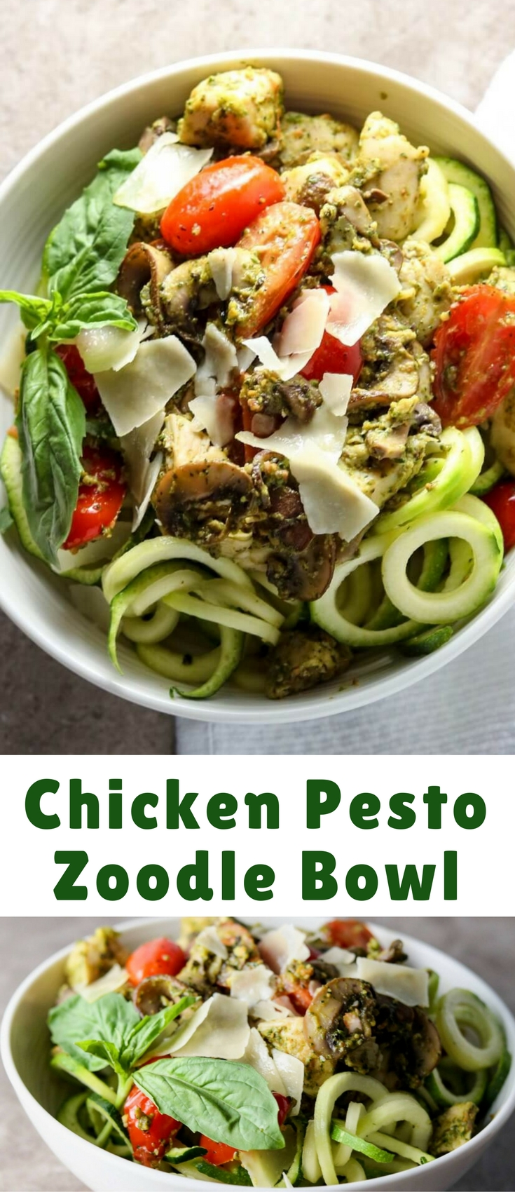 To give you an idea about how tasty this Pesto Zoodle Bowl with Chicken is, I overhear people standing around the breakroom talking about how amazing whatever just came out of the microwave smells