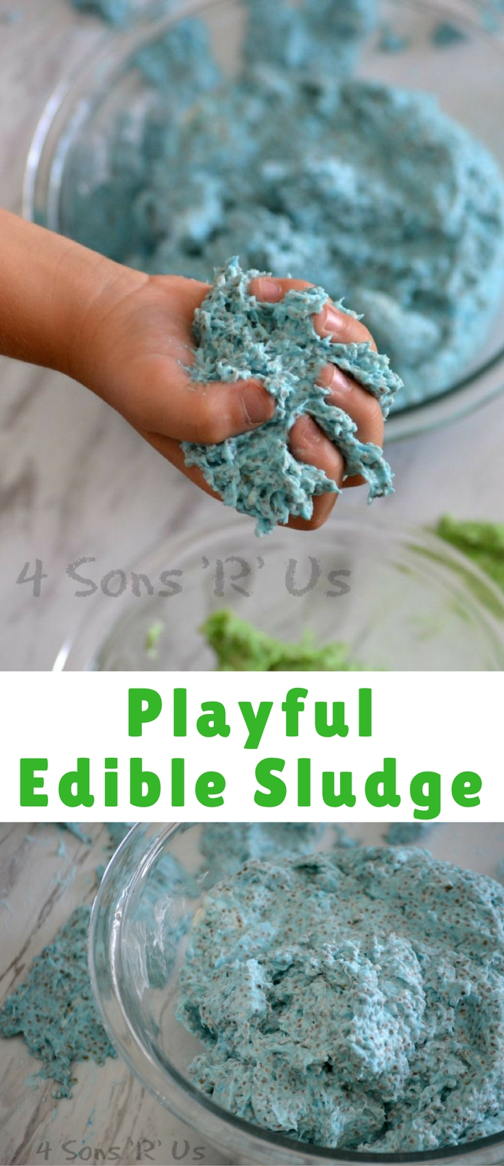 A fun sticky sludge that's perfect for sensory play, and also safe for the littler ones who're still taste-testing their way through life.