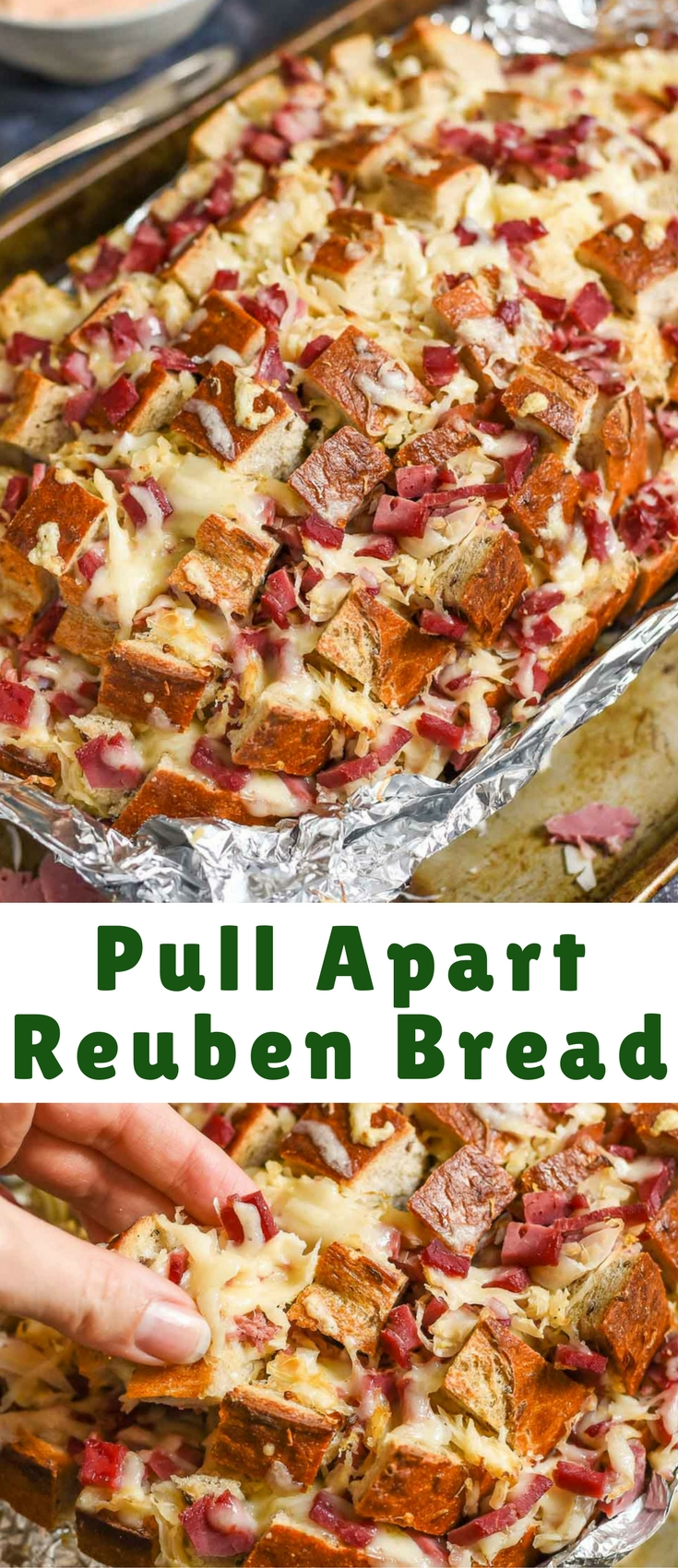 While feeding a toddler isn't always the most rewarding job, it can lead to some pleasant surprises. One of those happy surprises involved this giant loaf of Reuben Pull Apart Bread.