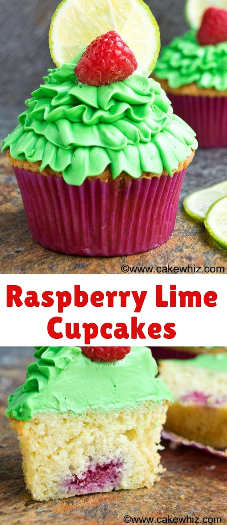 These easy and buttery raspberry lime cupcakes with lime cream cheese frosting are made from scratch. They even have a fresh raspberry stuffed inside them.