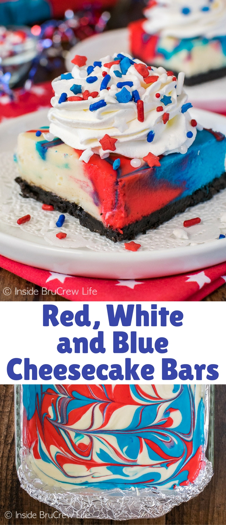 Swirls of colors make these Red, White and Blue Cheesecake Bars a fun dessert to share at holiday parties this summer. Brighten your Memorial Day and 4th of July picnics with this easy patriotic treat!