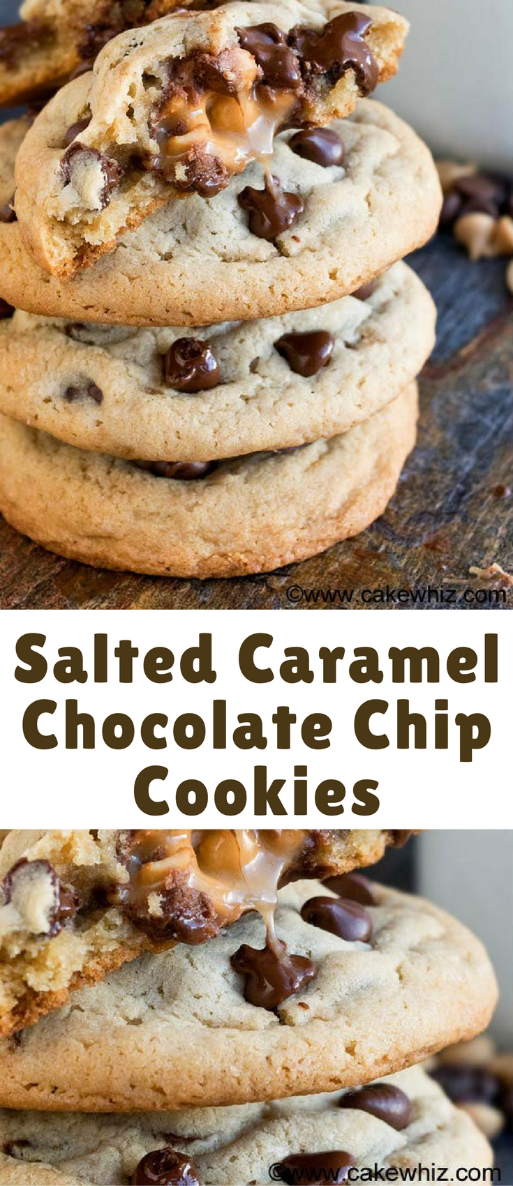 This soft and chewy salted caramel chocolate chip cookies recipe is easy to make and has an ooey gooey center. They are huge, like bakery style cookies!