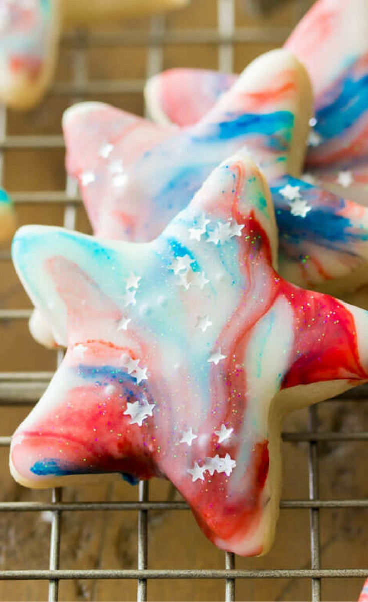 Festive red white and blue star-spangled cookies that are perfect as a patriotic Memorial Day or 4th of July celebration dessert.