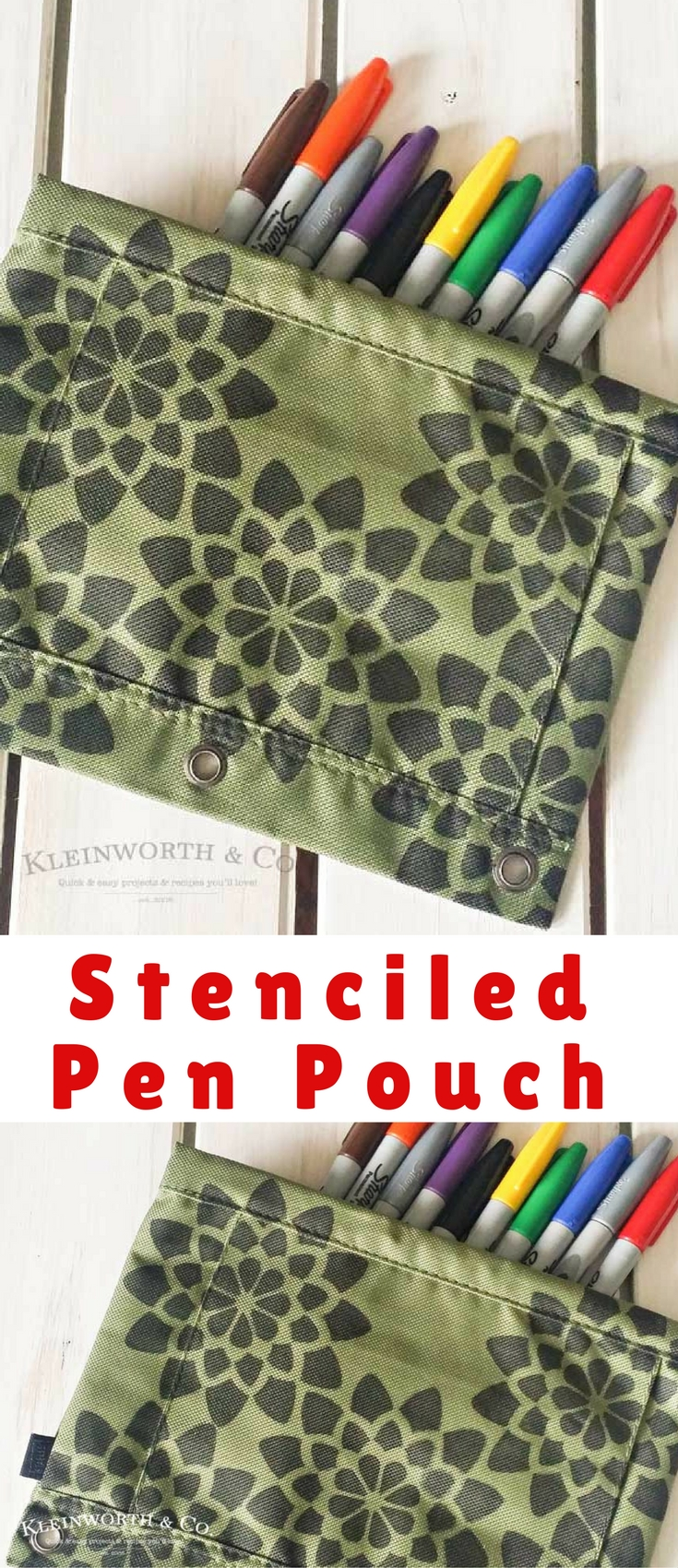 A simple Stenciled Pen Pouch makes all the difference in back to school excitement. With just a plain pen pouch & some Sharpie markers you can make one too.
