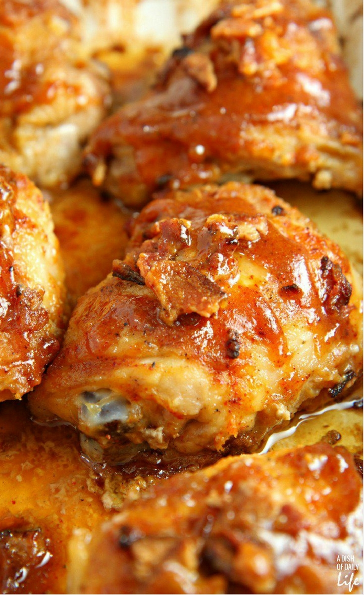 Sprinkle a taste of honey into dinner time with this easy Sticky Honey Mustard Chickenrecipe. Chicken thighs drizzled with a sweet and tangy honey mustard sauce, and flavored with bacon and chili powder, are sure to be a new family favorite!