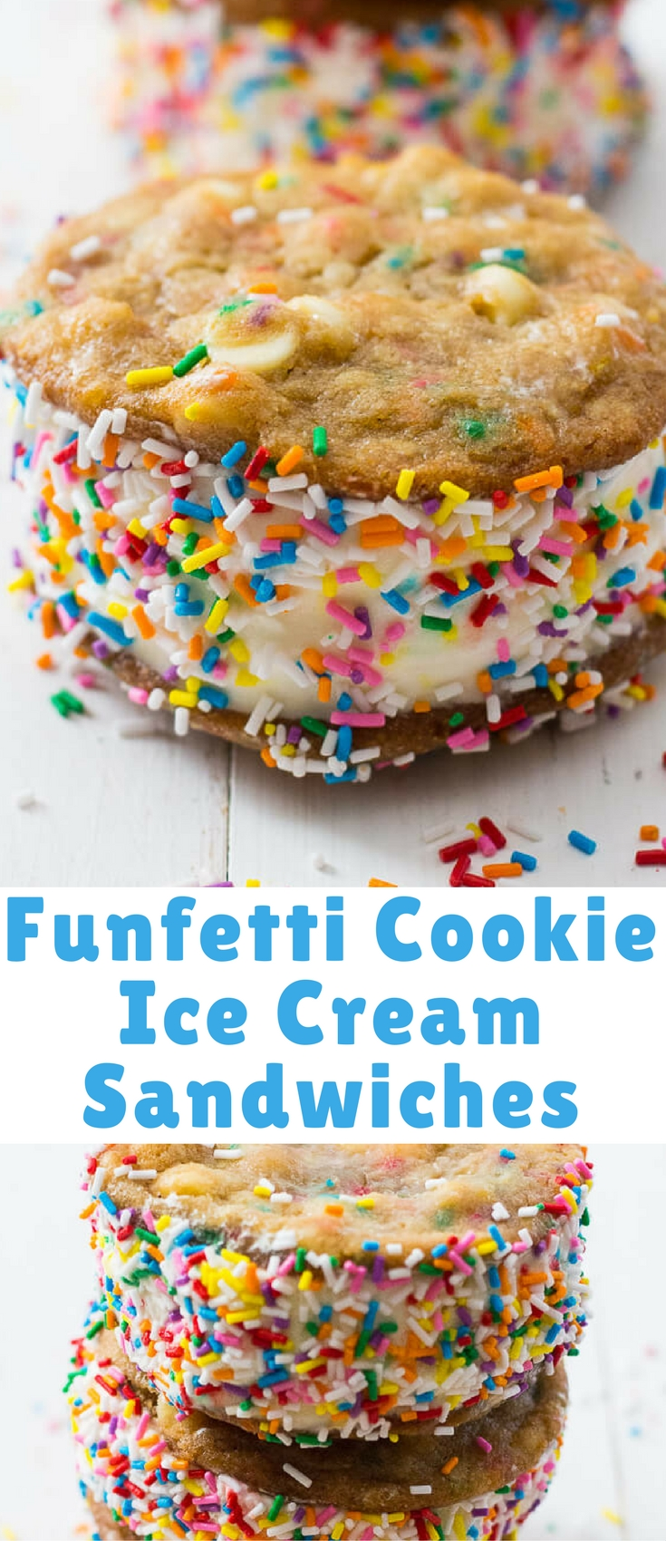 These White Chocolate Chip Funfetti Ice Cream Sandwiches are sure to become your new favourite summer dessert – just don't forget the extra sprinkles!
