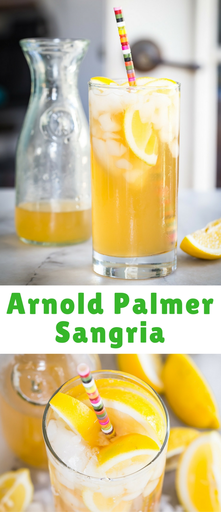 A really refreshing iced tea and lemonade drink with white wine, made just like the famous Arnold Palmer drink.