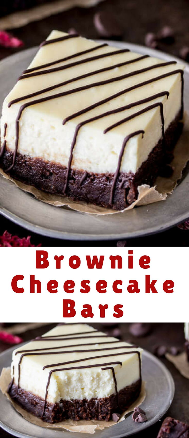 Brownie cheesecake bars with a thick layer of real cheesecake on top!