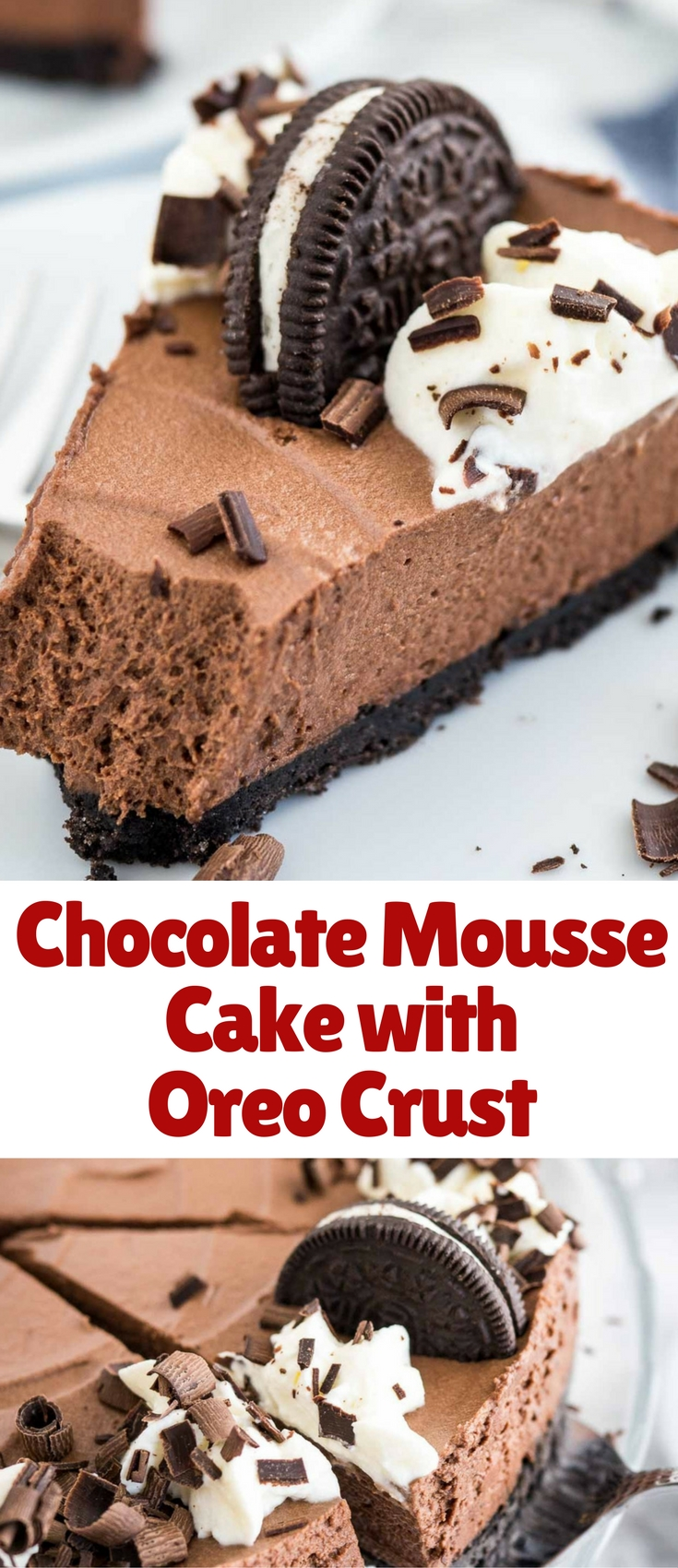 Chocolate Mousse Cake is every chocolate lovers dream! This decadent no-bake dessert is perfect for special occasions but so easy to make from scratch. Read the tips above before making this recipe!
