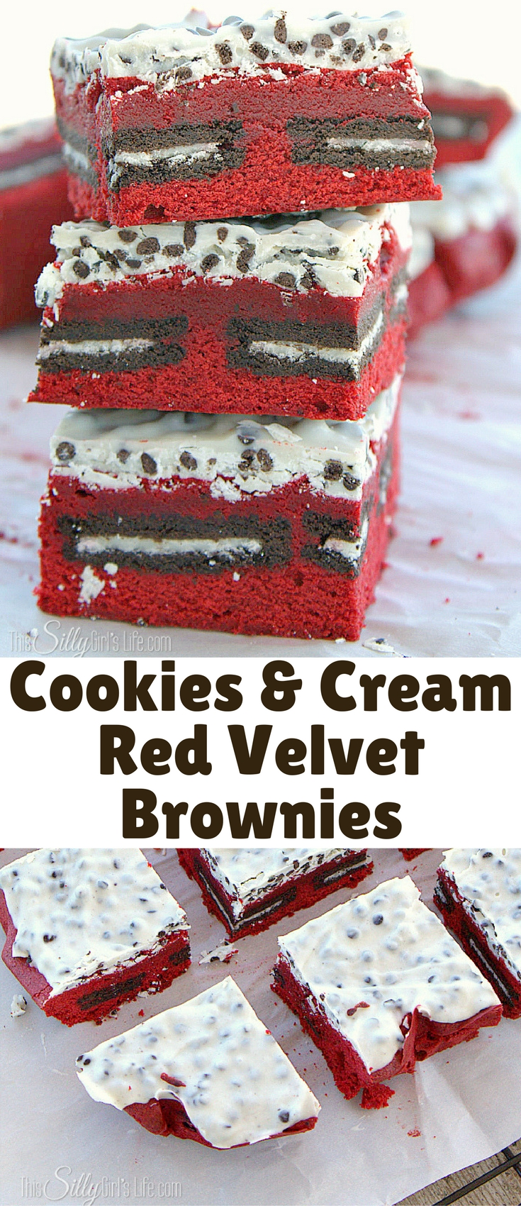 Cookies and Cream Red Velvet Brownies, Oreo stuffed homemade red velvet brownies, topped with cookies and cream kisses!