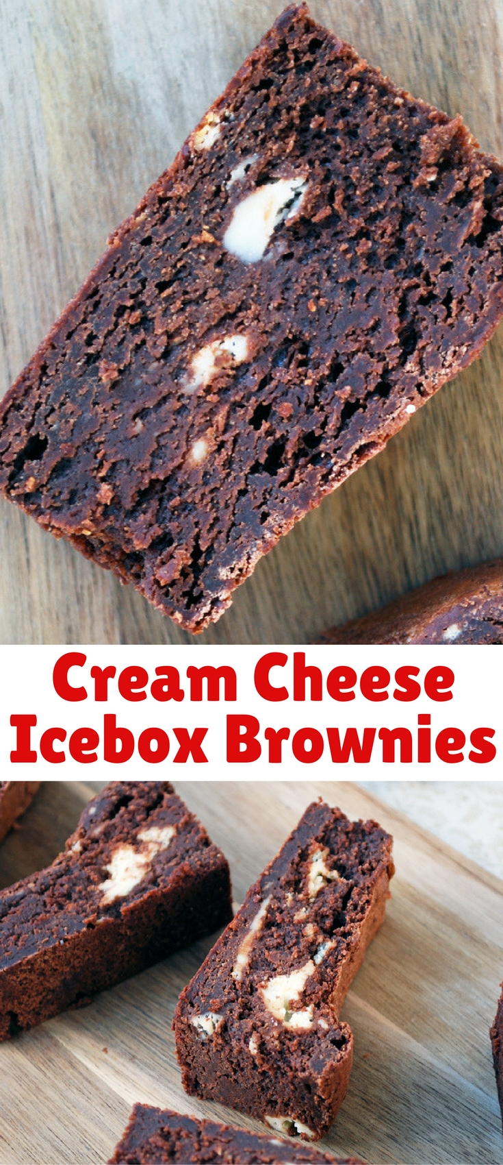 Deeply chocolate brownies, taken to the next level with cream cheese and a trip to the freezer!