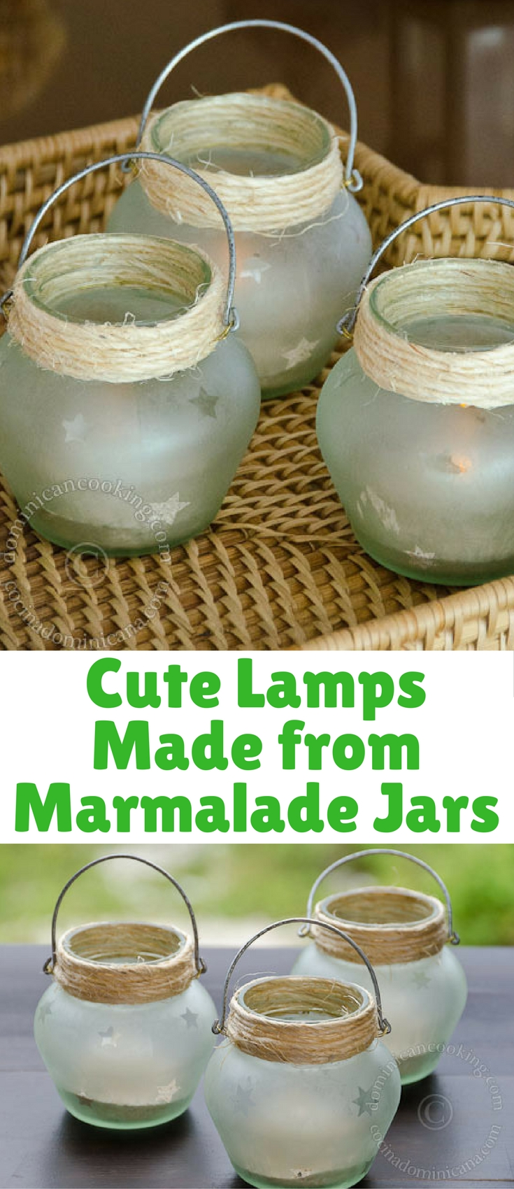 I made some more lanterns from marmalade jars to show you the how-to process. They turned out beautifully!