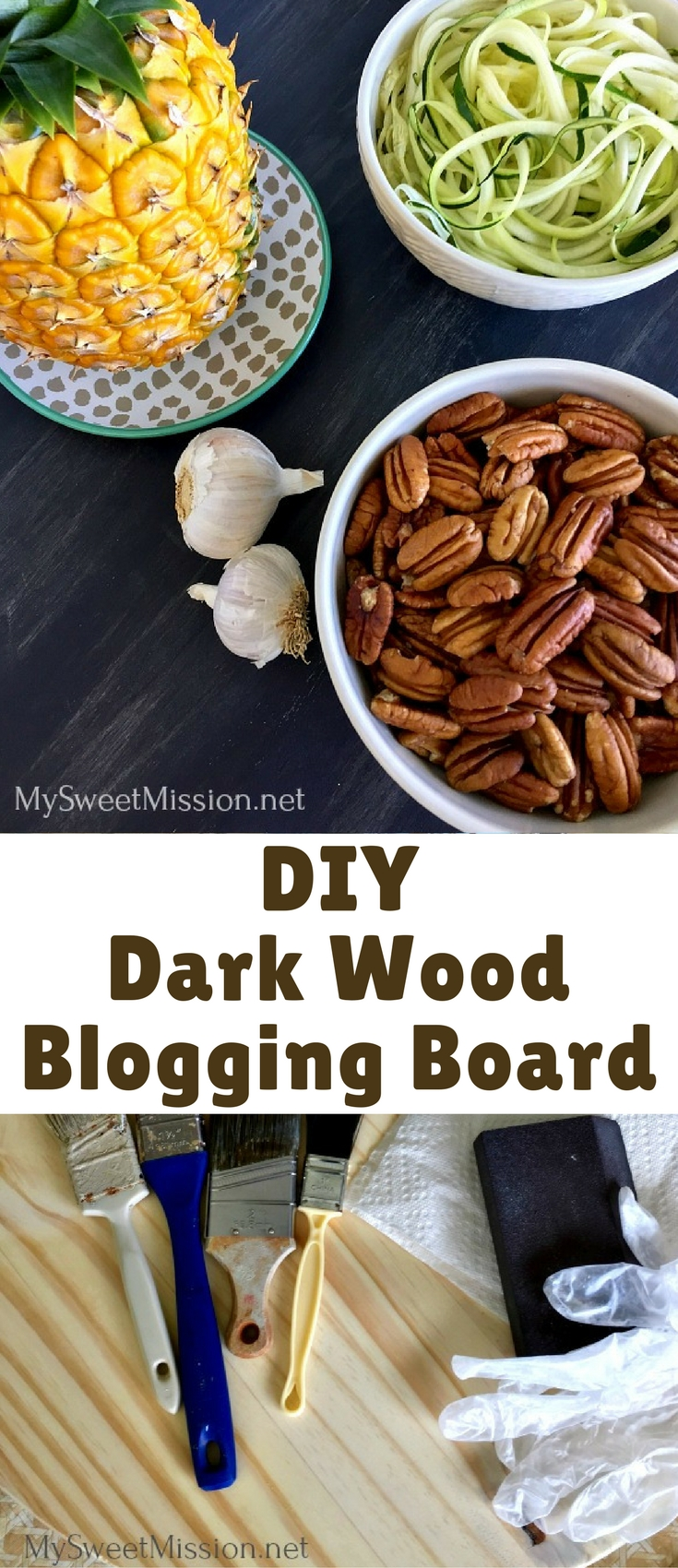 I'm sharing a DIY Dark Wooden Blogging Board Tutorial. This look and technique is easy to do, and fantastic for bloggers and those who love wooden craft projects too! All you need are a few supplies, a little time and viola – you've got yourself a beautiful, dark wooden blogging board.