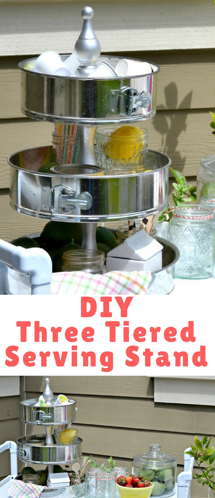 I have had my eyes on the three tiered stands that are so popular right now. I knew I could make my own and started looking at pans I was finding at garage sales a little differently.