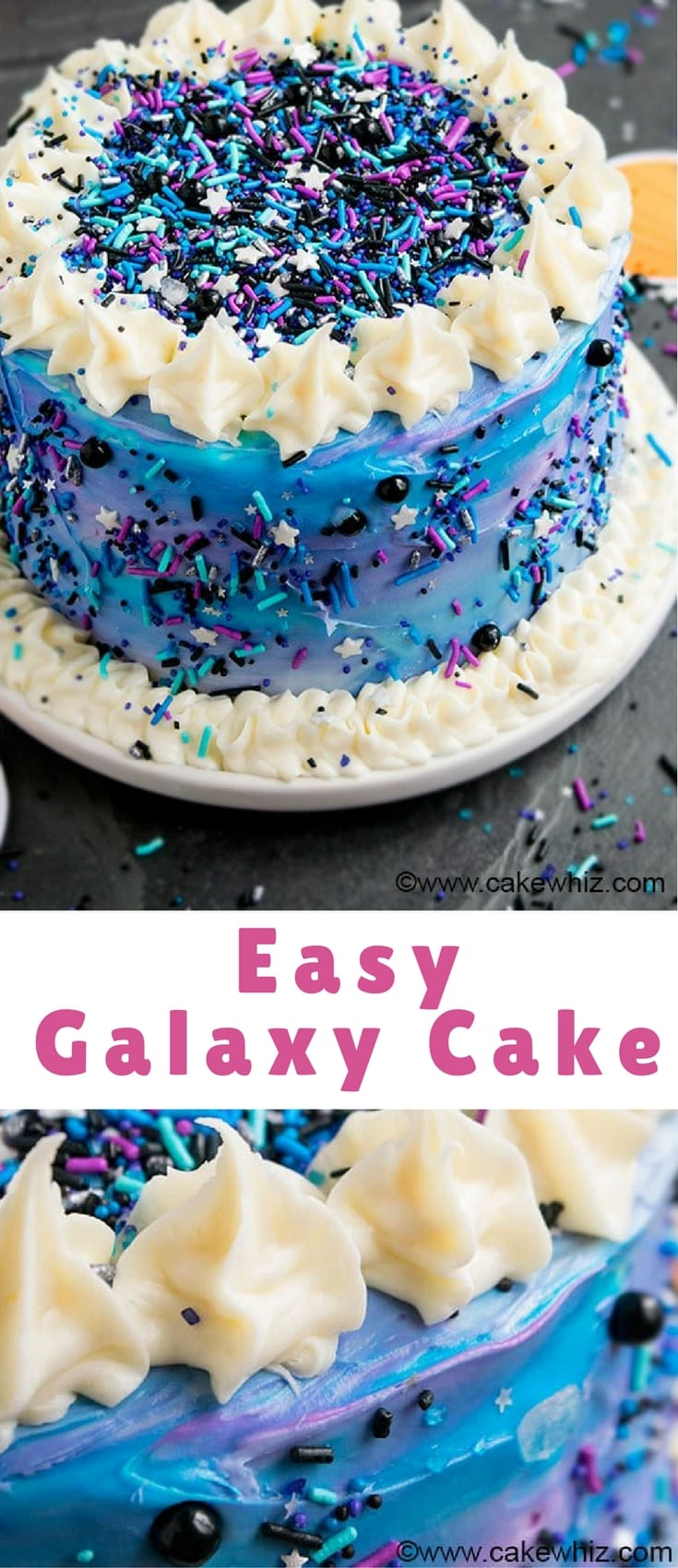 Quick and easy DIY galaxy cake with lots of sprinkles. This galaxy birthday cake is fun, colorful and perfect for kids' space themed parties.