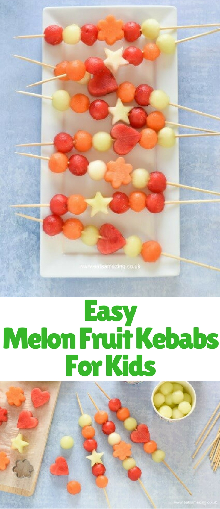Looking for easy summer party food idea? These simple melon fruit kebabs could be just what you're looking for – easy and healthy, they make the perfect refreshing summer snack. Made from only fruit, they're a great allergy friendly treat to bring to a party too!