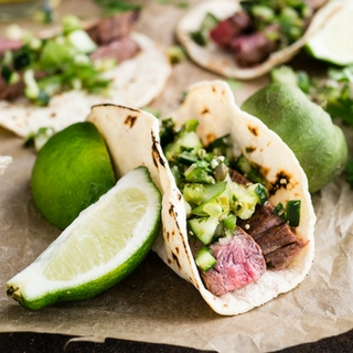 Flank Steak Tacos with Pico Verde