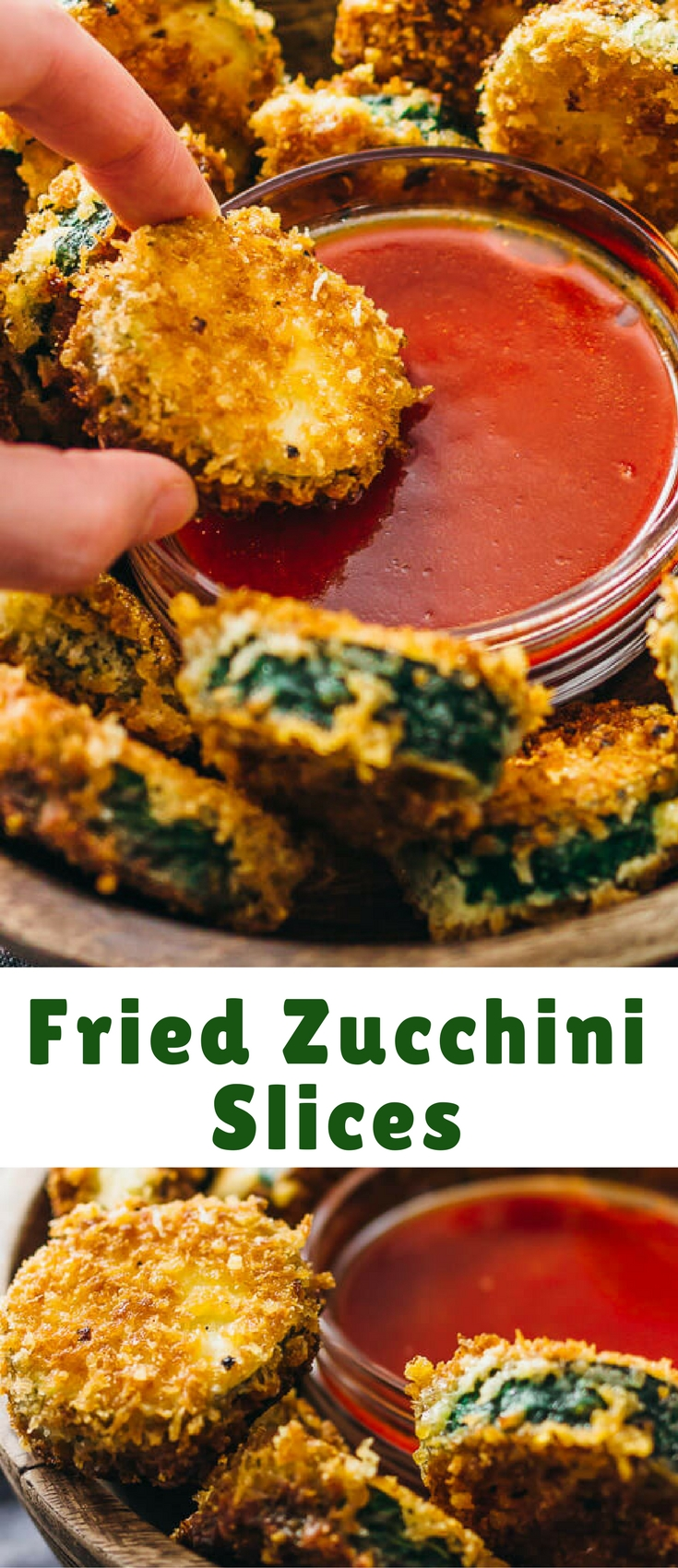 These pan-fried zucchini slices are a deliciously crunchy snack that goes well with a sweet and spicy dipping sauce.