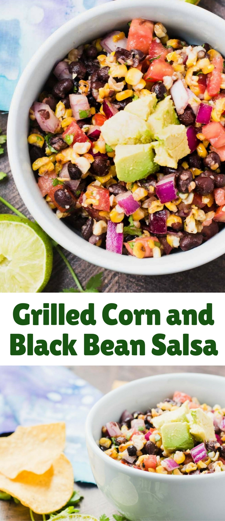 This Grilled Corn and Black Bean Salsa brings together some amazing flavors that make it the perfect dip for a summer backyard party!