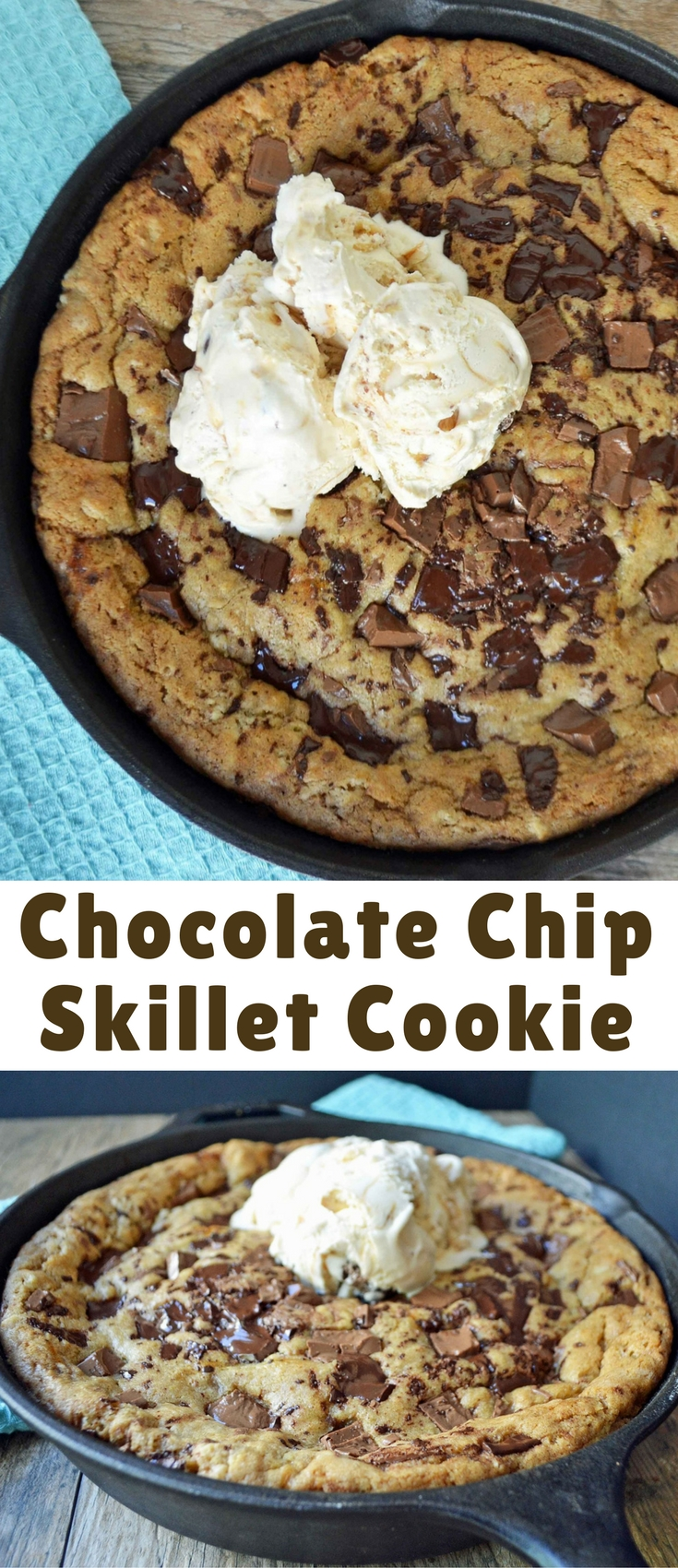 Lady's Chocolate Chip Skillet Cookie is a warm, ooey, gooey chocolate chip cookie topped with vanilla bean ice cream.
