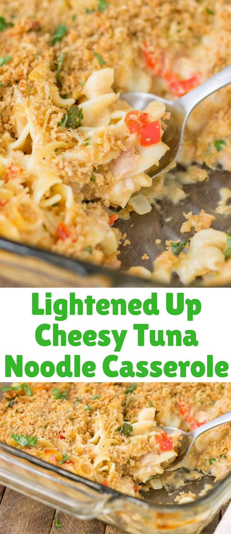 Delicious, creamy and made healthier with a few ingredient swaps, thisLightened Up Cheesy Tuna Noodle Casserole has all the flavors you loved from when you were a kid!