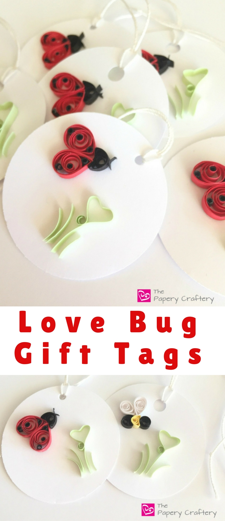 I'm a huge fan of Valentine's Day. I love that there's a whole day devoted to love and hearts and so I decided I would mash up both parts of the theme, love and bugs, to create some ladybug and bumblebee Love Bug Gift Tags.