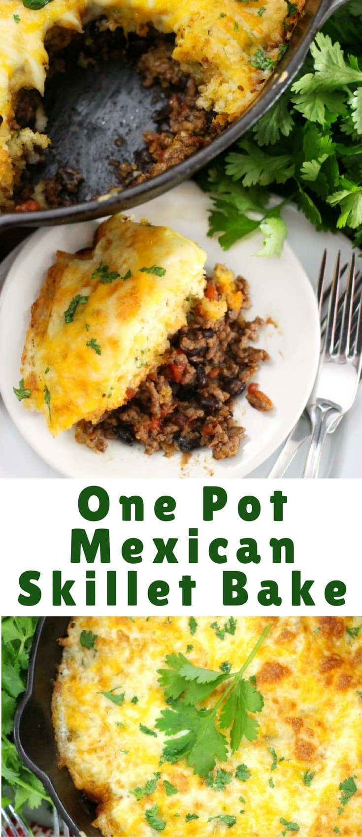 This One Pot Mexican Skillet Bake - Beef and Cheese Cobbler recipe is the perfect easy clean up meal for your busy nights.