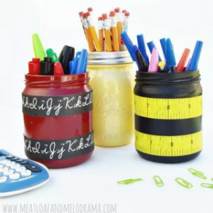 Organize School Supplies with Mason Jars