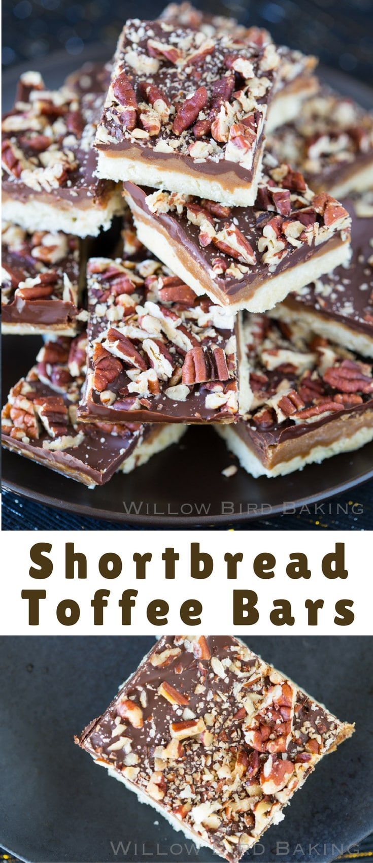 If you love easy saltine toffee, you'll love this adaptation! Buttery, caramelized toffee is sandwiched between a delicious shortbread base and dark chocolate. The bars are topped off with toasted pecans!