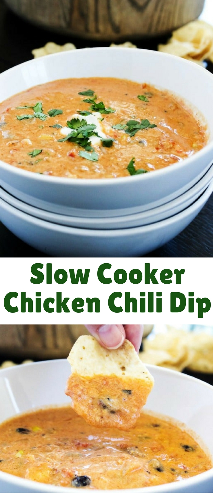 SLOW COOKER CHICKEN CHILI DIP is the perfect dip to serve to a crowd or to devour with a few friends on game day.Full of flavor and easy to throw together this is a party must have.