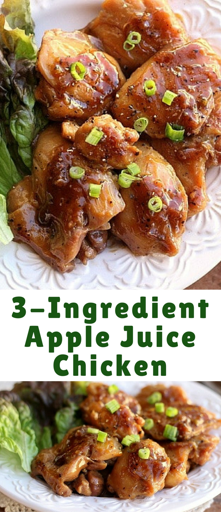 Delicious chicken thighs that are covered with a sweet, syrupy sauce made from apple juice!